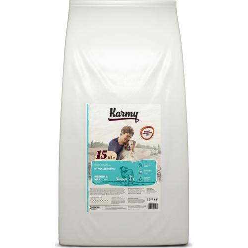 Сухой гипоаллергенный корм для собак Karmy Hypoallergenic Medium & Maxi 15 кг.