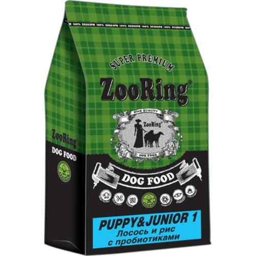 Корм для  щенков  крупных и средних пород ZooRing Puppy&Junior 1  лосось и рис с пробиотиками 10 кг, 20 кг