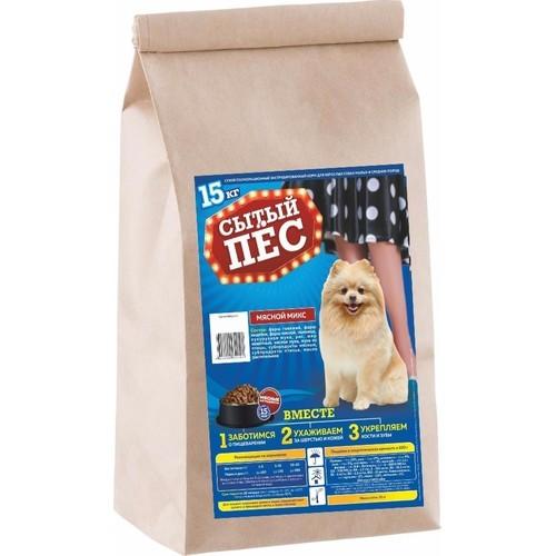 Сухой корм для взрослых собак малых и средних пород «СЫТЫЙ ПЁС» мясной микс 15кг.