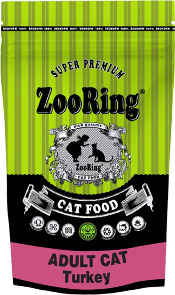 Сухой корм ZooRing ADULT CAT Turkey индейка 1,5кг.