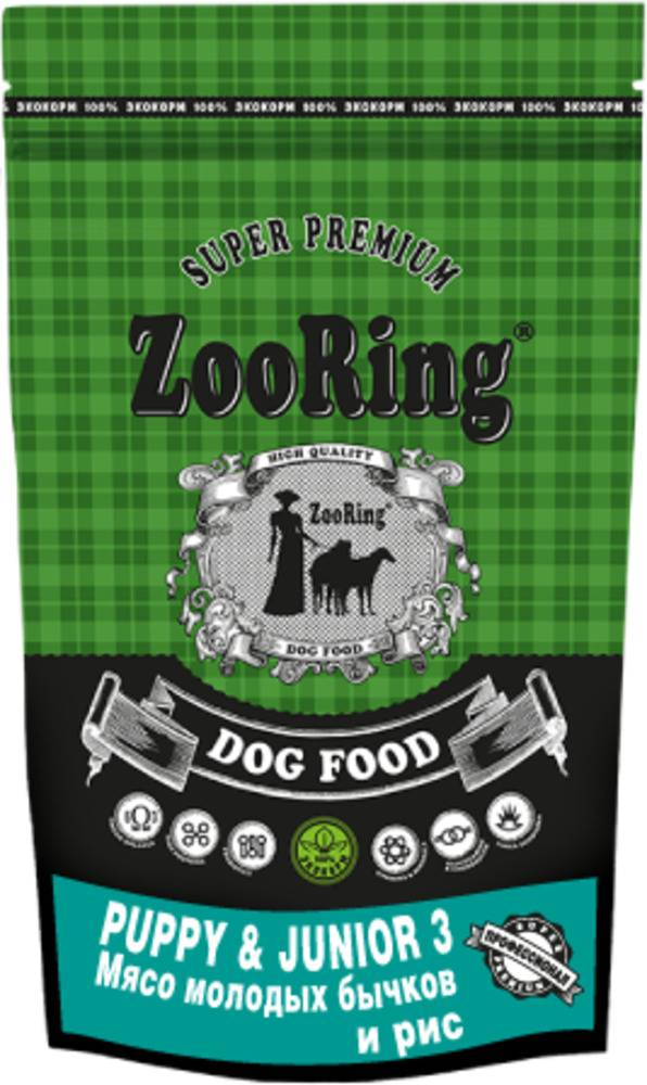 ZooRing для щенков Puppy&Junior 3  МЯСО МОЛОДЫХ БЫЧКОВ И РИС 20 кг